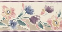 Blooming Watercolor Flowers Plum Purple Designer Kimiko Wall Wallpaper Border