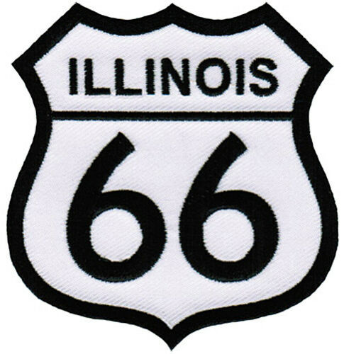 IRON-ON APPLIQUE Highway Road Sign Biker ILLINOIS ROUTE 66 EMBROIDERED PATCH