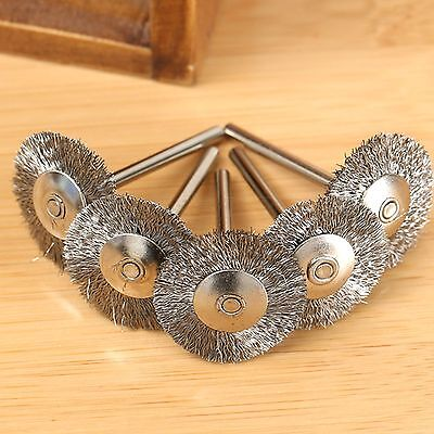 """20Pcs 1/8"""" Shank Steel Wire Wheel Cup Rust Flat Brushes Power Rotary Drill Tool"""
