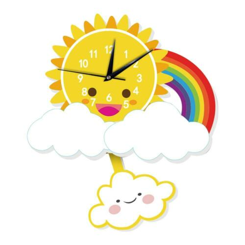Cute Cartoon Sun Silent Wall Clock Kids Living Bedroom Home Clocks Decor #K