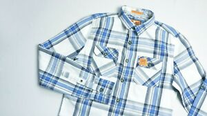 Superdry-Flannel-Casual-Shirt-men-LS-top-size-S-Small-Slim-blue-white-LUMBERJACK
