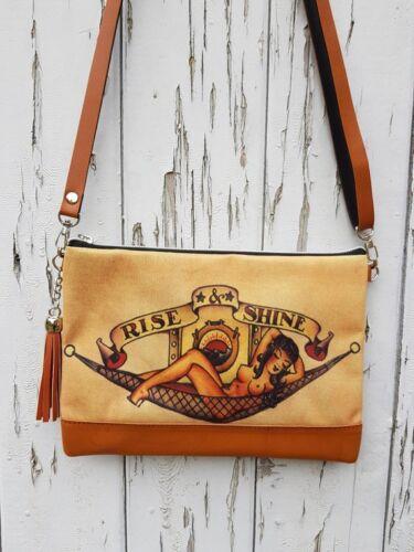Vintage Pin Up Girl Tattoo Handbag Sailor Navy Bag Brown