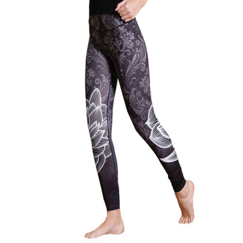 Demask with Lotus Printed High Waist Yoga Sports Leggings plus size 3078