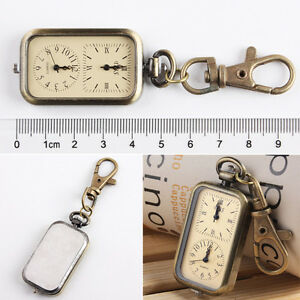 Antique Bronze Tone Analog Dual Time Pocket Key Ring Chain Unisex Quartz Watch