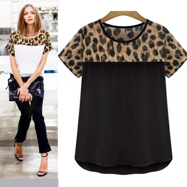 2015 Fashion Women Leopard Printing Chiffon Casual T shirt Tops Blouse Plus Size