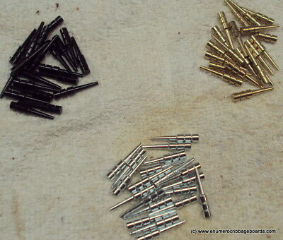 """60 FANCY Metal Cribbage Pegs for 1//8/"""" holes Gold,Silver,Black 3 COLORS"""
