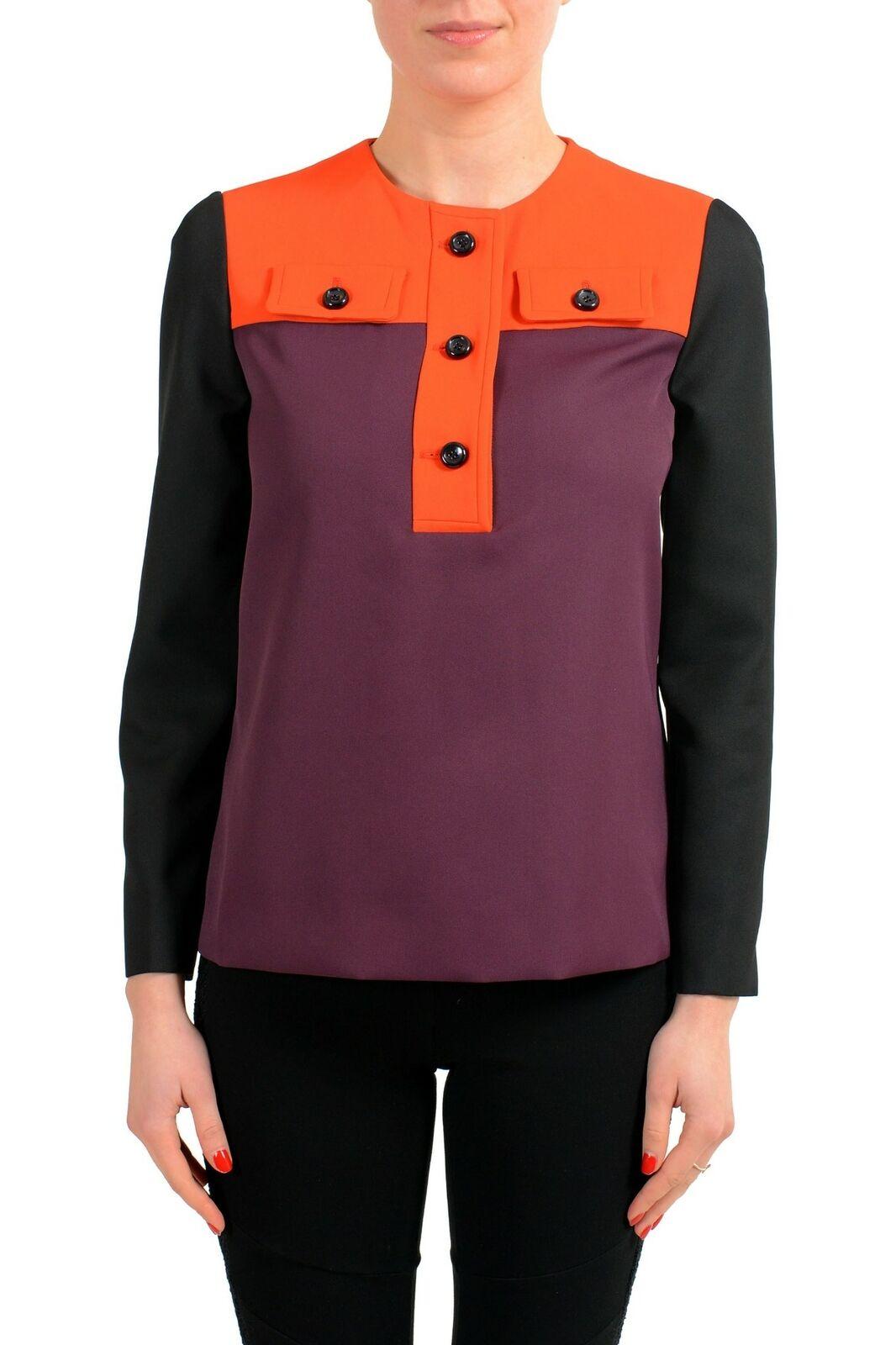 Viktor & Rolf Multi-color Henley 3 4 Sleeve Women's Blouse Sz S M
