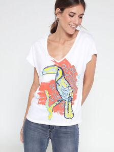 Camiseta escote v y manga corta con abertura lágrima en la espalda muj - 112242