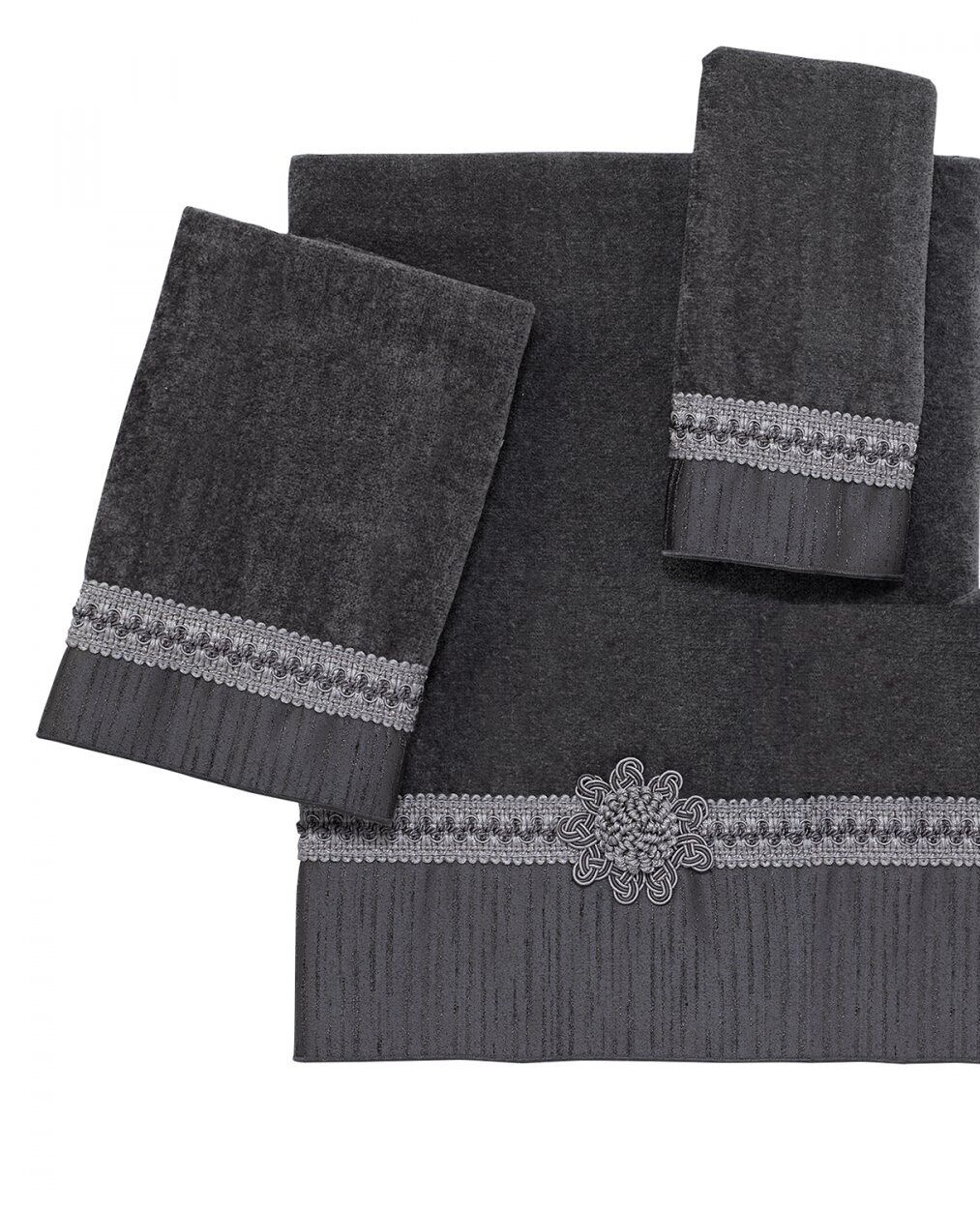 Braided Medallion 3 Piece Bath Towel Hand Towel and Fingertip Towel Set Granite