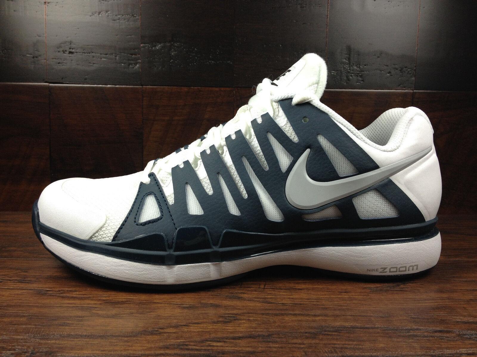 Nike Zoom Vapor 9 Tour (Blanc / Navy Bleu) Federer Tennis [488000-104] Homme 7.5