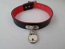 "lockable  black real leather fetish bondage slave collar 12-15"" chrome padlock"