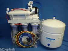 5 Stage Reverse Osmosis Unit 80 GPD Booster/Permeate Pump -Clear Housings w/tank