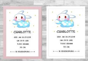 Geburtsanzeige für Mädchen Wandbild Kinderzimmer Geburtsdaten ...