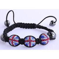 Ladies Union Jack Shamballa Bracelet Women Disco Ball Beautiful Friendship Beads