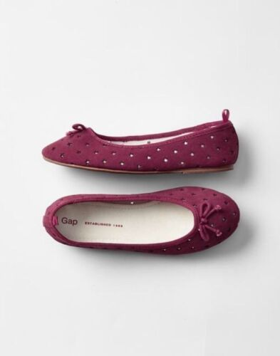 33 EU Purple Suede Star Ballet Flats Shoes GAP Kids Youth Girls Size 3 US