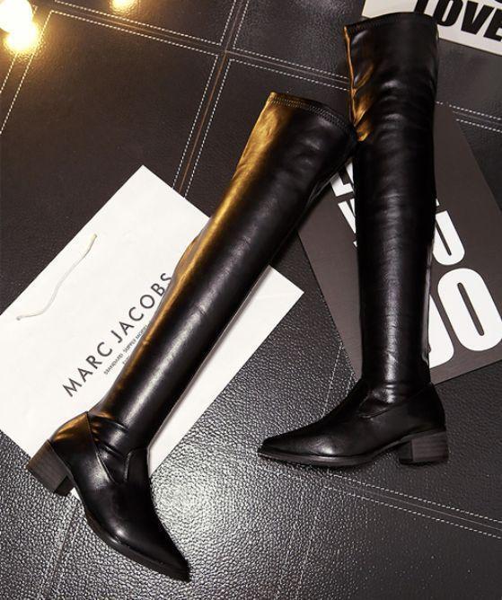 Sexy Lederrstiefel Damen Schuhe Stiefel Overknie Lederrstiefel Sexy schwarz Pumps Blockabsatz 1aaa3a