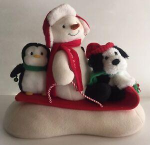 2007-Hallmark-Jingle-Pals-Animated-Snowman-Penguin-Dog-Sled-Sleigh-Ride-Singing