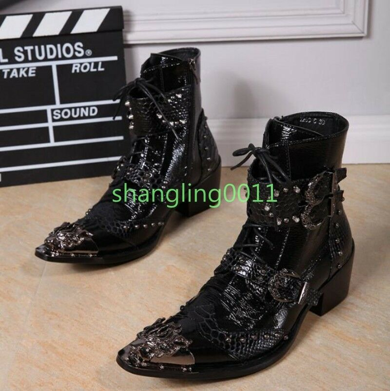 Uomo Punk Pointed Metal Toe Buckles Lace UP Zip High Top Ankle Stivali Rock 2018
