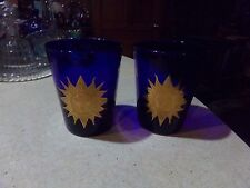 2 Culver Glass Cobalt Blue & Gold Celestial Sun Moon Stars Old Fashion Tumblers