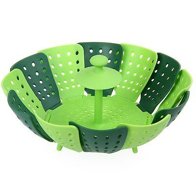 Silicone Folding Steamer Basket Steel Pan Pot Food Fruit Vegetable Cook Kitchen