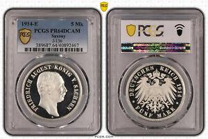 Sachsen 5 Mark 1914 e Friedrich August PP PCGS zertifiziert PR64DCAM 59131