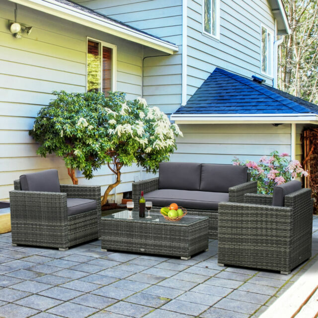 Outsunny Outdoor Wicker Patio Sectional, Outsunny Outdoor Furniture