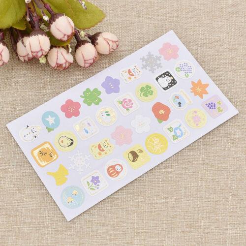 Lovely Scrapbooking Stickers Flower Snowman Animal Printed DIY Craft Supplies