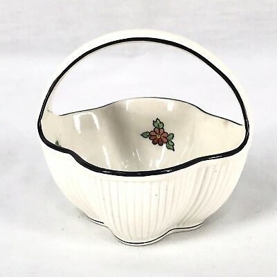 """Max Roesler Rodach Germany Rvr Miniature Handmade Basket Bowl Floral Trim 3 3/4"""" Let Our Commodities Go To The World Decorative Arts Bowls"""
