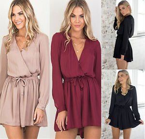 2bc3377ac4f Image is loading UK-Womens-Summer-Chiffon-Playsuits-Ladies-Party-Jumpsuits-