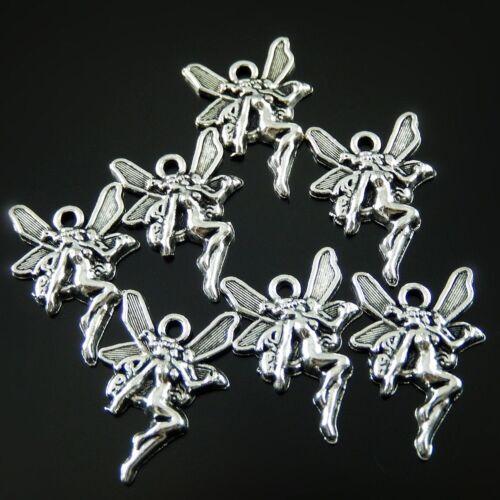 Weinlese Silber Legierung Niedlich Blumen Fee Charm Anhänger Kunst Schmuck 50stk