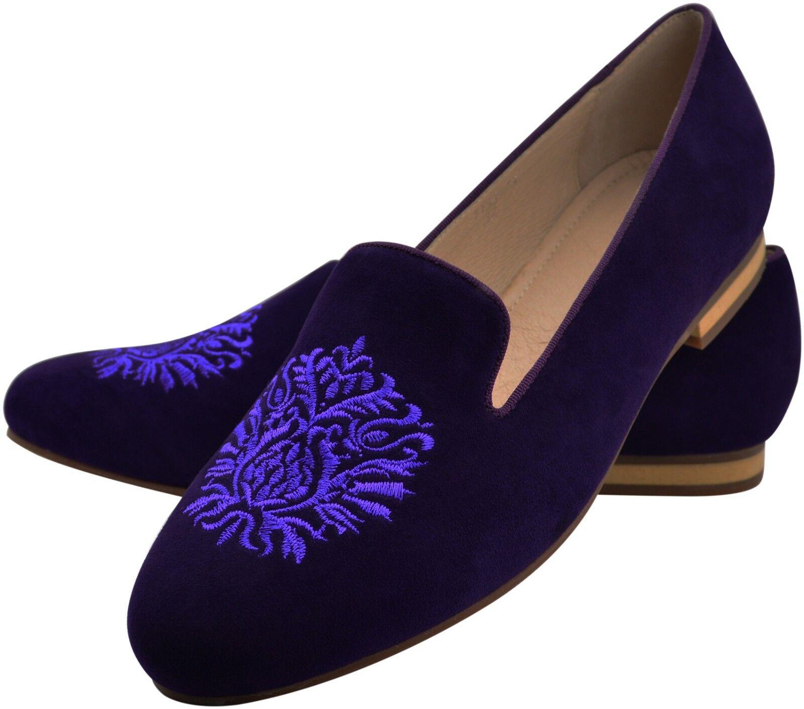 Cuir Slipper Mocassins violet violet chaussures BLASON Stick Taille 41 costume traditionnel brodé