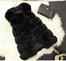 BNWOT Fur GILET Waistcoat BLACK With Lining Sz UK 8-12 (Sent From UK) Soft Faux