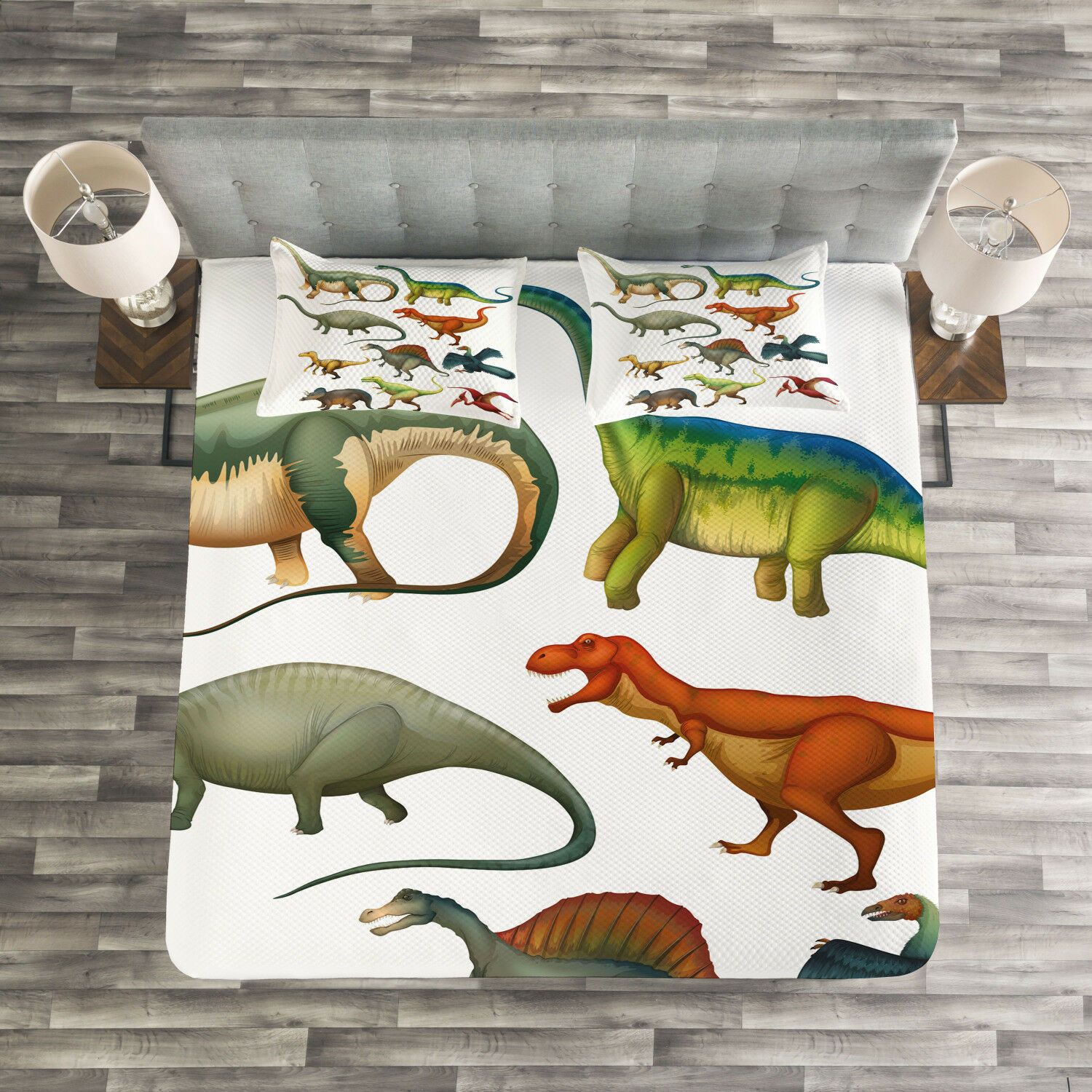 Dinosaur Quilted Bedspread & Pillow Shams Set, Jurassic Collection Print