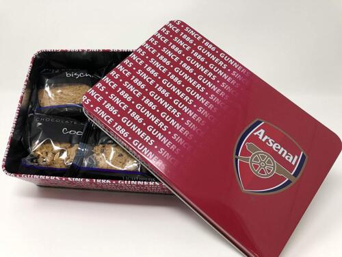 ARSENAL BISCUIT TIN WITH 12 LUXURY BISCUITS GIFT SET NEW OFFICIALLY LICENSED