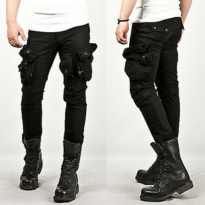new mens fashion cool stylish tough chic wax coated oil cargo skinny jeans pants ebay. Black Bedroom Furniture Sets. Home Design Ideas