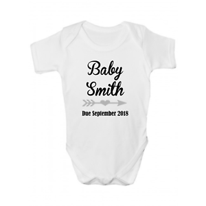 Personalised Pregnancy Announcement Baby Grow Bodysuit Vest Name Due Date Arrow