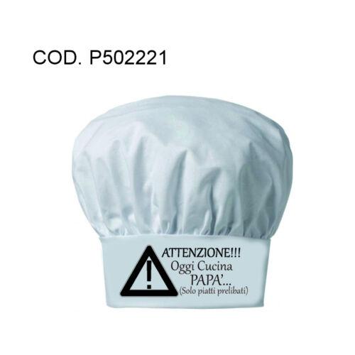 Cappello UOMO cuoco chef  bianco scritta OGGI CUCINA PAPA' festa compleanno