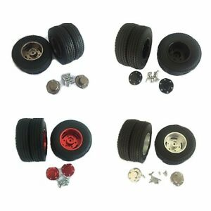 Aluminum-Rear-wheels-Hard-Rubber-rim-Tires-1-pair-for-Tamiya-1-14-Tractor-Truck