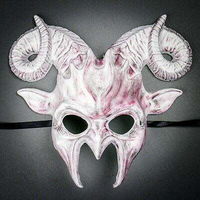Glossy RED Devil Scary Eye Mask Halloween Masquerade Half Face Cosplay Costume