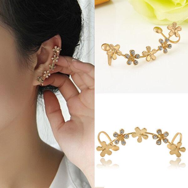 1pc Gold Crystal Chic Flower Ear Bone Wrap Clip On Cuff Earring No Pierced Ebay