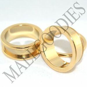 1500-Screw-on-fit-Steel-Anodized-Gold-Tunnels-Big-Gauges-Plugs-1-1-8-034-Inch-28mm