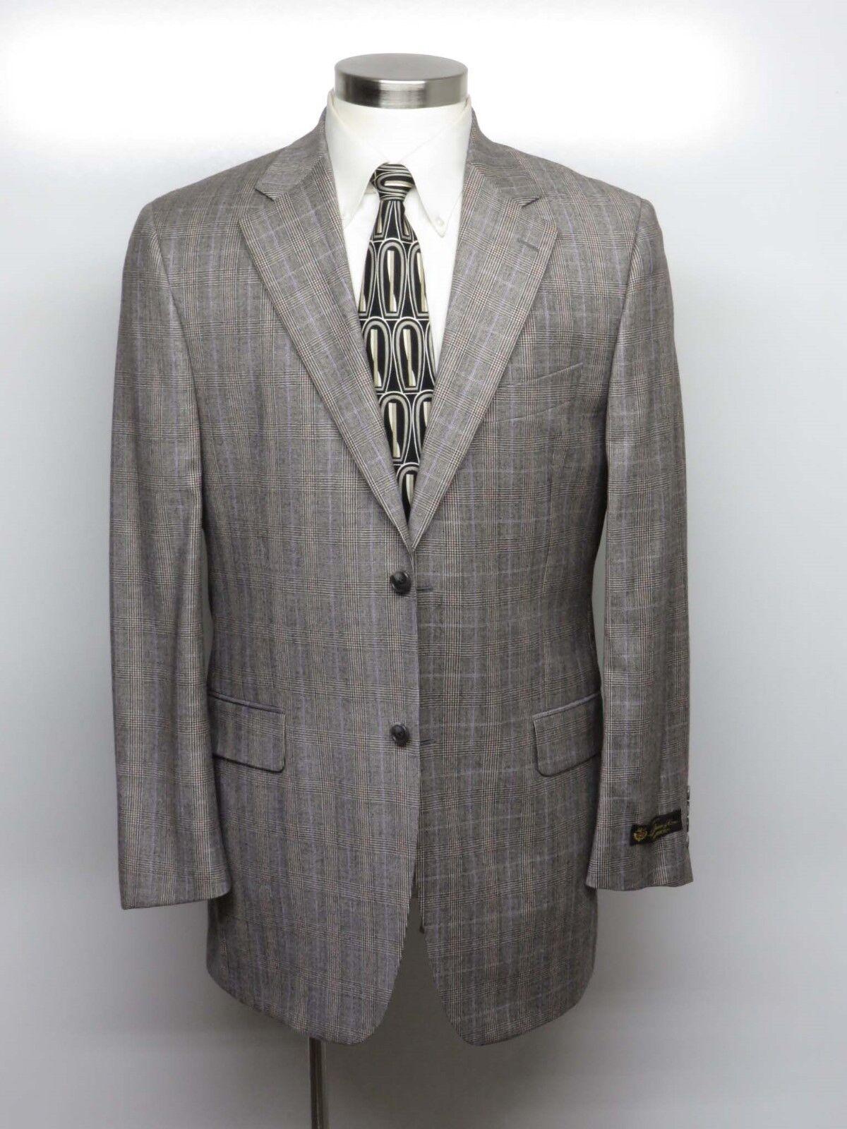 SPENCER STONE CUSTOM Sport Coat 40L Beige Glen Plaid- LORO PIANA ZELANDER - 895