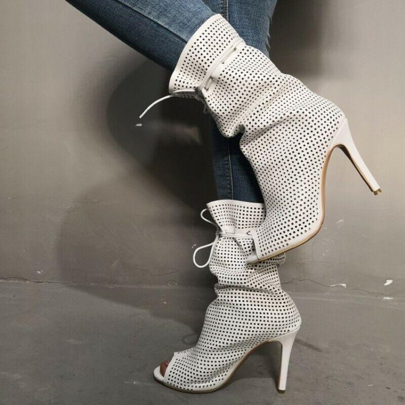 Donna New Peep Toe Hollow Out Stiletto High Heels Gladiator Sandals stivali scarpe
