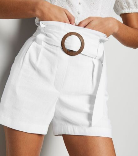 NEW LOOK Ladies Womens Off White Linen Look Buckle Shorts Summer Holiday
