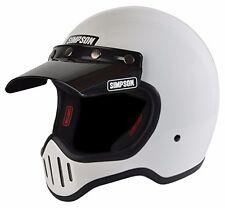 Simpson Retro M50 White Motorycle Full Face Helmet 5 Snap Visor SIZE Medium