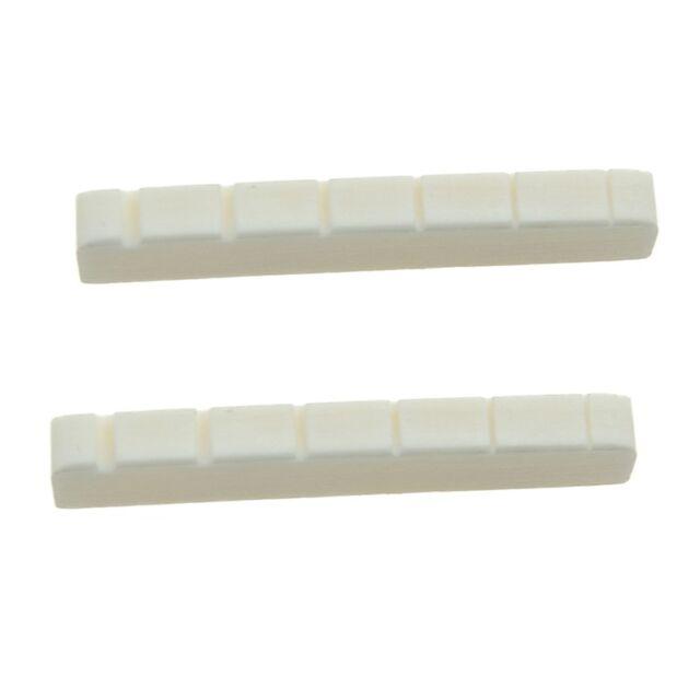 2 Pcs 6 String Electric Bone Nut Cattle Bone Slotted Replacement (43 X 6mm U4S2