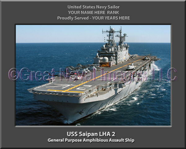 USS Saipan LHA 2 Personalized Canvas Ship Photo Print Navy Veteran Gift