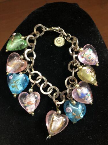 Vintage RJ Grazino Venetian Glass Heart Charm Bracelet