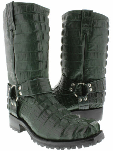 Mens Green Alligator Tail Pattern Leather Motorcycle Harness Boots Square Toe