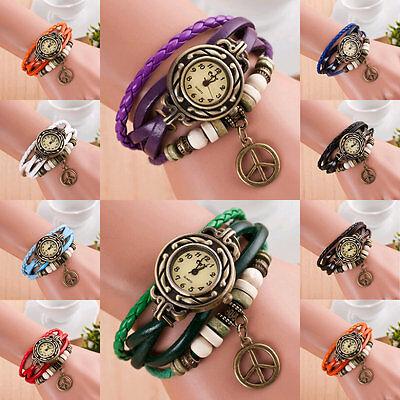 Women Vinage Punk Wrap Leather Bangle Bracelet Peace Pendant Quartz Wrist Watch